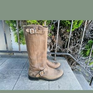 Frye Veronica Slouch Tan Brown Vintage Boots 9.5